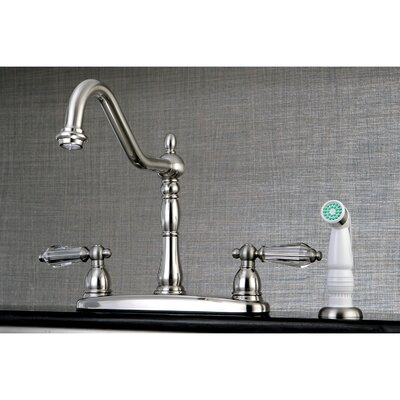 Wilshire Double Handle Kitchen Faucet with Side Spray Finish: Satin Nickel