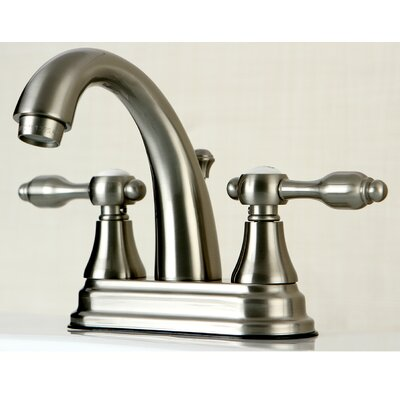 Tudor Standard Centerset Bathroom Faucet with Drain Assembly Finish: Satin Nickel
