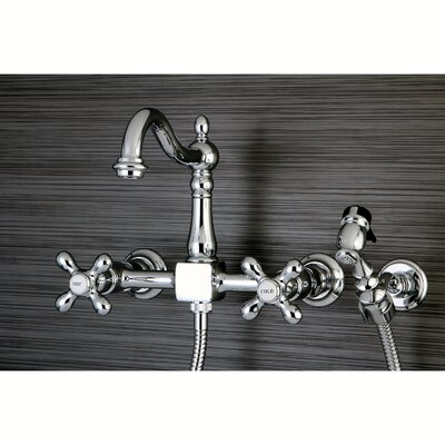 Heritage Double Handle Wall Mount Kitchen Faucet with Brass Sprayer Finish: Chrome