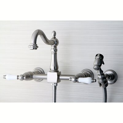 Heritage Double Handle Wall Mount Kitchen Faucet with Brass Sprayer Finish: Satin Nickel
