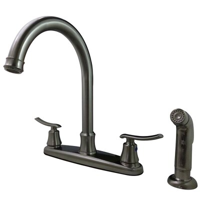 Jamestown Double Handle Standard Kitchen Faucet with Side Spray Finish: Satin nickel