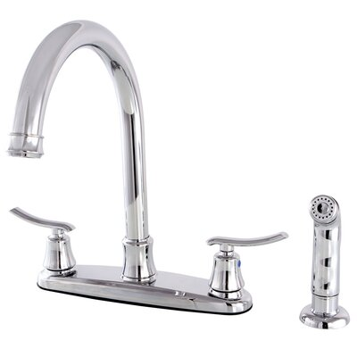 Jamestown Double Handle Standard Kitchen Faucet with Side Spray Finish: Chrome