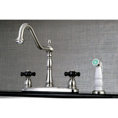 Duchess Double Handle Widespread Deck Mounted Kitchen Faucet with Side Spray Finish: Satin Nickel