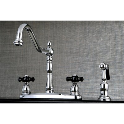 Duchess Double Handle Widespread Deck Mounted Kitchen Faucet with Side Spray Finish: Chrome