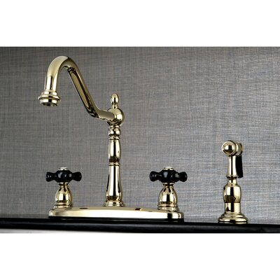 Duchess Double Handle Widespread Deck Mounted Kitchen Faucet with Side Spray Finish: Polished Brass