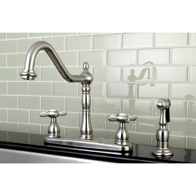 Essex Double Handle Deck Mounted Centerset Kitchen Faucet with Brass Sprayer