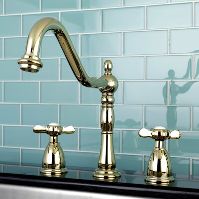 Essex Double Handle Deck Mounted Widespread Kitchen Faucet Finish: Polished Brass