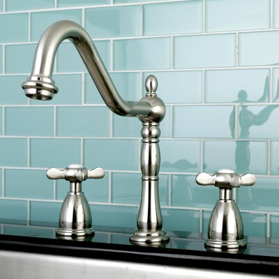 Essex Double Handle Deck Mounted Widespread Kitchen Faucet Finish: Satin Nickel