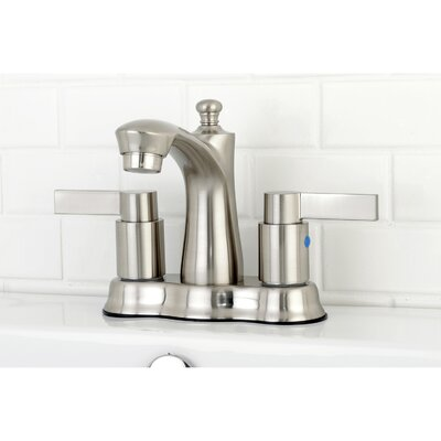 NuvoFusion Centerset Double Handle Lavatory Faucet with Drain Assembly Finish: Satin Nickel