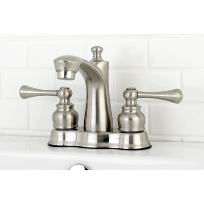 Centerset Double Handle Lavatory Faucet with Drain Assembly Finish: Satin Nickel