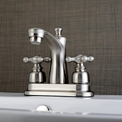 Victorian Centerset Double Handle Lavatory Faucet with Drain Assembly Finish: Satin Nickel