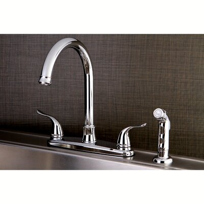 Yosemite Centerset Double Handle Kitchen Faucet with Side Spray Finish: Polished Chrome
