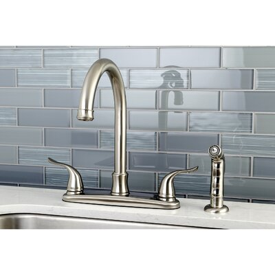 Yosemite Centerset Double Handle Kitchen Faucet with Side Spray Finish: Satin Nickel