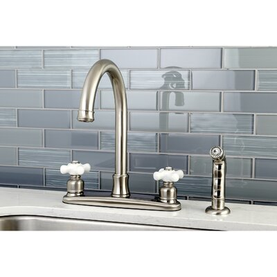 Victorian Double Handle Kitchen Faucet with Side Spray Finish: Satin Nickel