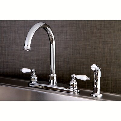 Victorian Centerset Double Handle Kitchen Faucet with Side Spray Finish: Polished Chrome
