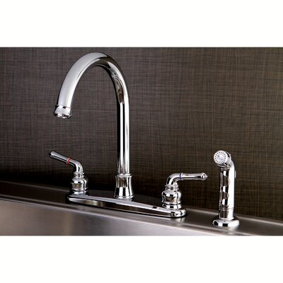 Naples Centerset Double Handle Kitchen Faucet with Side Spray Finish: Polished Chrome