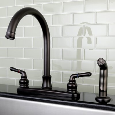 Naples Centerset Double Handle Kitchen Faucet with Side Spray Finish: Oil Rubbed Bronze