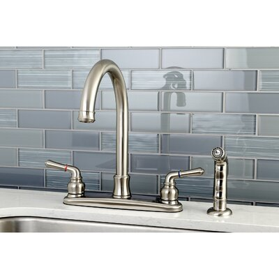 Naples Centerset Double Handle Kitchen Faucet with Side Spray Finish: Satin Nickel