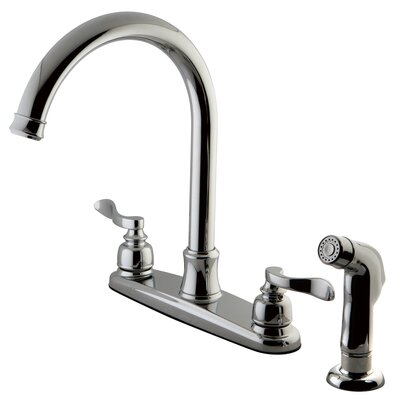 NuWave French Centerset Double Handle Kitchen Faucet with Side Spray Finish: Polished Chrome
