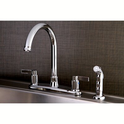 NuvoFusion Double Handle Kitchen Faucet with Side Spray Finish: Polished Chrome