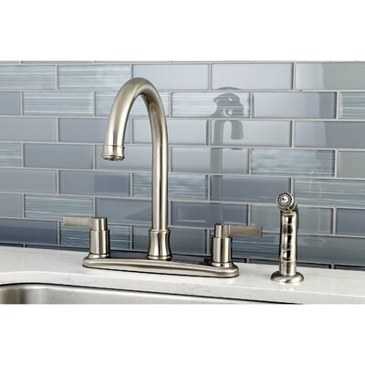 NuvoFusion Double Handle Kitchen Faucet with Side Spray Finish: Satin Nickel