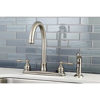 Knight Centerset Double Handle Kitchen Faucet with Side Spray Finish: Satin Nickel