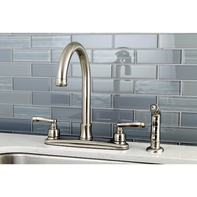Royale Centerset Double Handle Kitchen Faucet with Side Spray Finish: Satin Nickel
