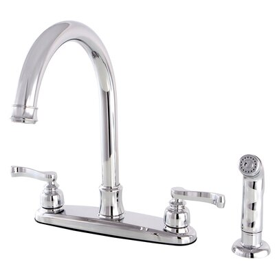 Royale Centerset Double Handle Kitchen Faucet with Side Spray Finish: Polished Chrome