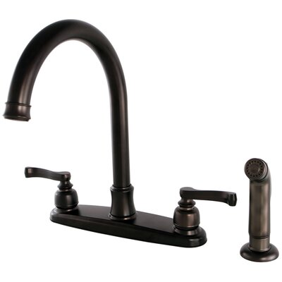 Royale Centerset Double Handle Kitchen Faucet with Side Spray Finish: Oil Rubbed Bronze