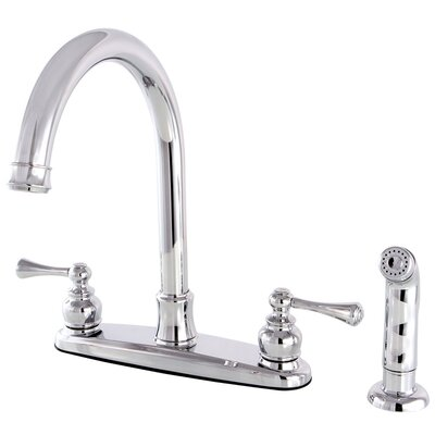 Centerset Double Handle Kitchen Faucet with Side Spray Finish: Polished Chrome