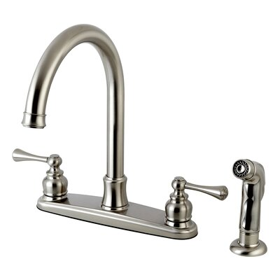Centerset Double Handle Kitchen Faucet with Side Spray Finish: Satin Nickel
