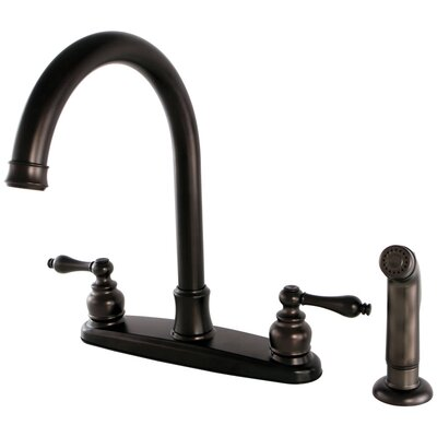 Victorian Double Handle Kitchen Faucet with Side Spray Finish: Oil Rubbed Bronze