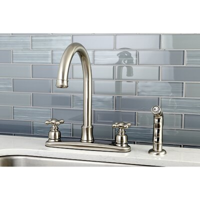 Victorian Centerset Double Handle Kitchen Faucet with Side Spray Finish: Satin NIckel
