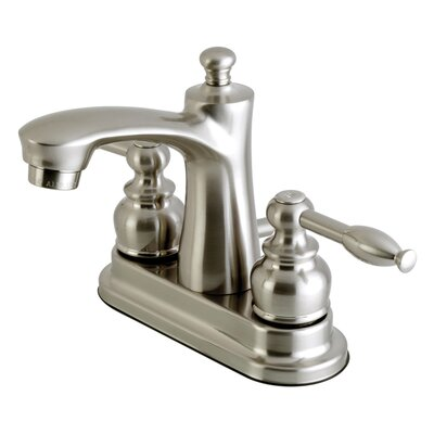 Knight Centerset Double Handle Lavatory Faucet with Drain Assembly Finish: Satin Nickel