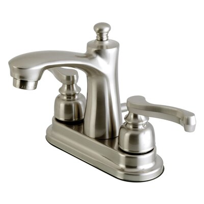 Royale Centerset Double Handle Lavatory Faucet with Drain Assembly Finish: Satin Nickel