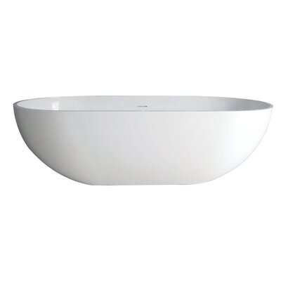 Aqua Eden Bryanna Solid Surface 70.06 x 34.63 Freestanding Soaking Bathtub