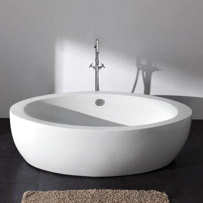 Aqua Eden Joelle Acrylic 72.81 x 35.81 Freestanding Soaking Bathtub