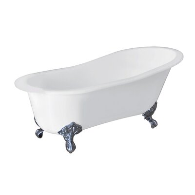 Aqua Eden Celeste Cast Iron Slipper 61.56 x 30.5 Soaking Bathtub Color: Chrome