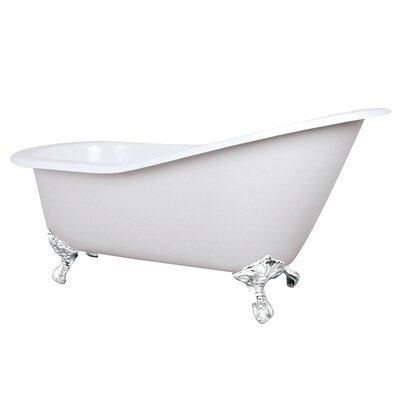 Aqua Eden Celeste Cast Iron Slipper 61.56 x 30.5 Soaking Bathtub Color: White