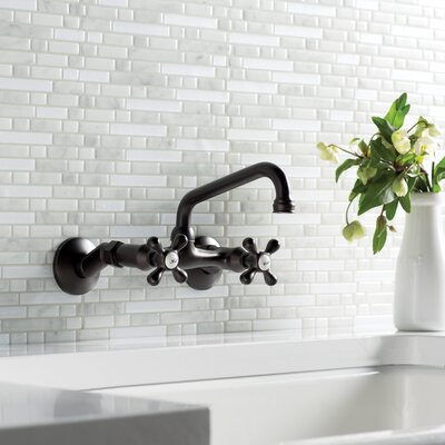 Magellan Double Handle Wall Mount Faucet Finish: Oil Rubbed Bronze