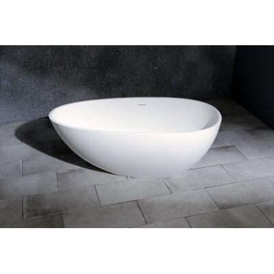 Aqua Eden Madalyn Solid Surface 59.13 x 30.31 Freestanding Soaking Bathtub