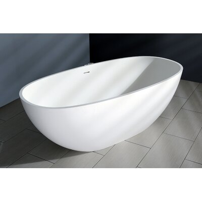Aqua Eden Claira Solid Surface 64.95 x 31.88 Freestanding Soaking Bathtub