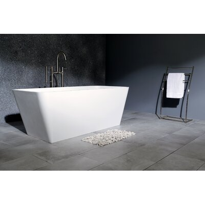Aqua Eden Lydia Solid Surface 59.06 x 26.75 Freestanding Soaking Bathtub