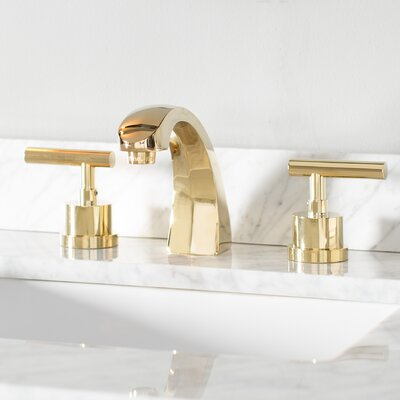 Manhattan Double Handle Widespread Bathroom Faucet with Brass Pop-up Finish: Polished Brass
