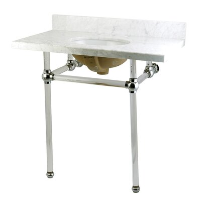 Templeton Ceramic 36 Console Bathroom Sink with Overflow Base Finish: Chrome