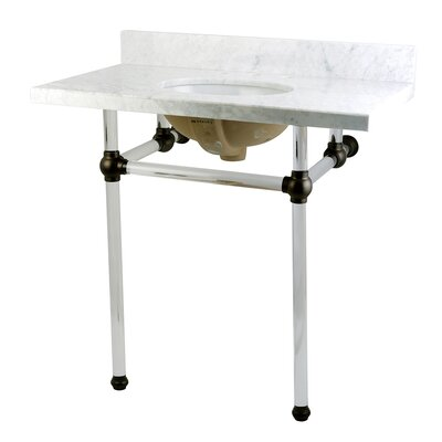 Templeton Ceramic 36 Console Bathroom Sink with Overflow Base Finish: Oil Rubbed Bronze