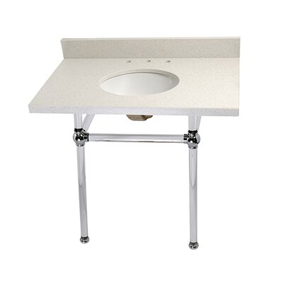 Templeton Ceramic 36 Console Bathroom Sink with Overflow Finish: Chrome