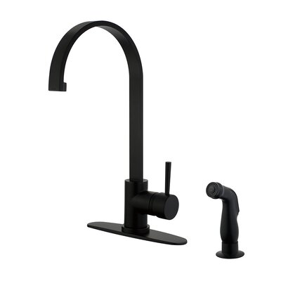 Gourmetier Centerset Single Handle Kitchen Faucet with Side Sprayer Finish: Matte Black