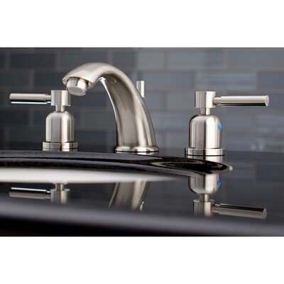 Concord Widespread Double Handle Bathroom Faucet with Drain Assembly Finish: Satin Nickel