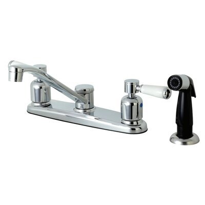 Paris Centerset Double Handle Kitchen Faucet Side Spray: Black Side Sprayer